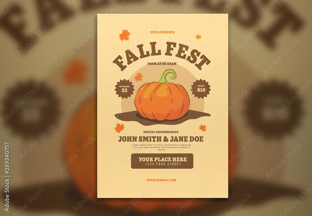 Fototapety, obrazy: Fall Festival Flyer Layout with Graphic Pumpkin
