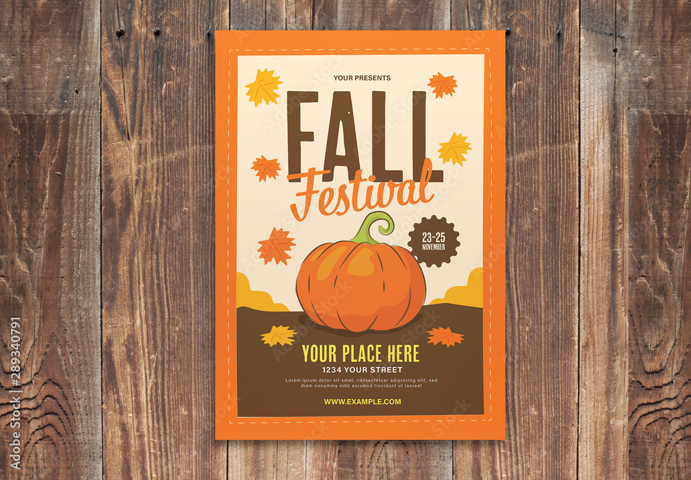Fototapety, obrazy: Orange Fall Festival Flyer Layout With Graphic Pumpkin