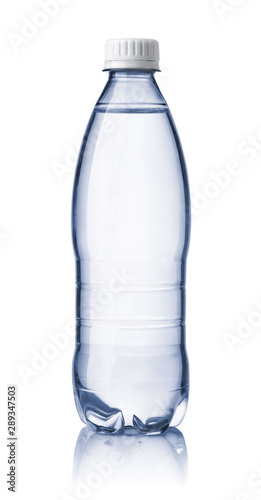Front view of small clear water bottle Canvas Print