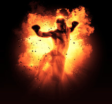 MMA Male Fighter Kick. Flames Background