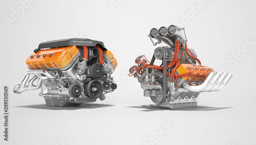 Modern red turbo engine and supercharger engine isolated 3D render on gray backg Canvas Print