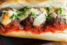 Meatball Parmesan Hero Sandwich