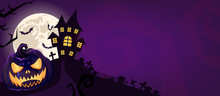 Halloween Scary Purple Vector Background. Spooky Graveyard And Haunted House At Night Cartoon Illustration. Horror Moon, Bats, Creepy Pumpkin And Graves Silhouettes Backdrop. Helloween Gothic Panorama