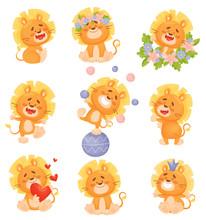 Set Of Cute Cartoon Lion Cubs....