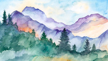 Hand Drawn Watercolor Mountain Landscape
