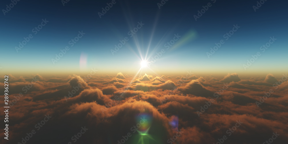 Fototapety, obrazy: heaven, sunset over the clouds