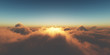 canvas print picture - heaven, sunset over the clouds