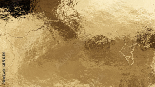 Pinturas sobre lienzo  Shiny wrinkled golden foil texture. Crumpled metal background.