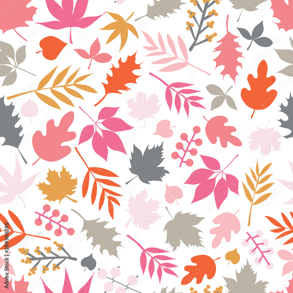 Seamless vector background autumn doodle leaves. Scandinavian style repeating pattern. Red pink gold gray leaf illustration. Use for fall decoration, Thanksgiving card, fabric, kids textiles