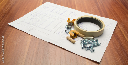 Aluminium Prints Height scale Furniture details and elements lie on a white sheet with product drawings.
