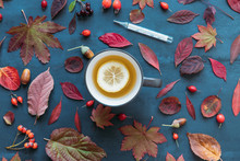 Flu Season, Cold Concept. Autumn Coloured Leaves, Ripe Rosehip Berries With A Cup Of Hot Tea With Lemon, Mercury Thermometer With High Temperature On Blue Background, Flat Lay, Top View. Fall Leaves.