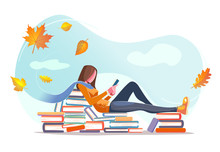 Girl Reading, Sitting On Stacks Of Books In Fall Leaves Background. Concept Design. Beautiful Autumn Nature With Flat Young Woman. Modern Card With Isolated White Background