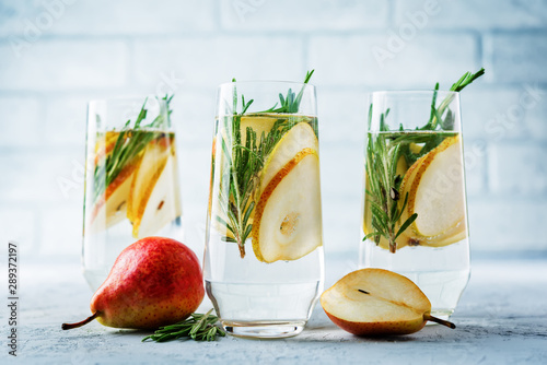 Fotografie, Obraz  Pear rosemary cocktail with fresh pears