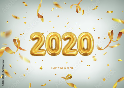 Christmas Ads For 2020 3d realistic isolated vector with golden gel balls arranged as a