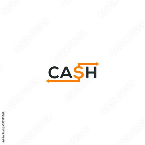 Obraz na plátně  Cash word logo. dollar sign in cash vector.