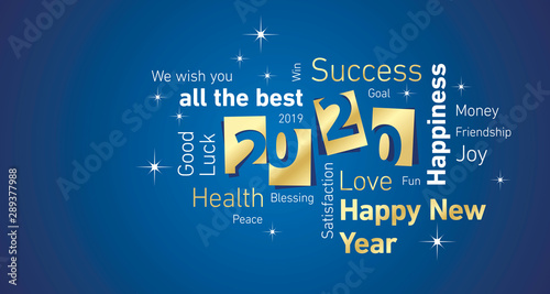 Fototapety, obrazy: Happy New Year 2020 negative space cloud text gold white blue vector