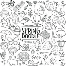 Spring Season Nature Traditional Doodle Icons Sketch Hand Made Design Vector