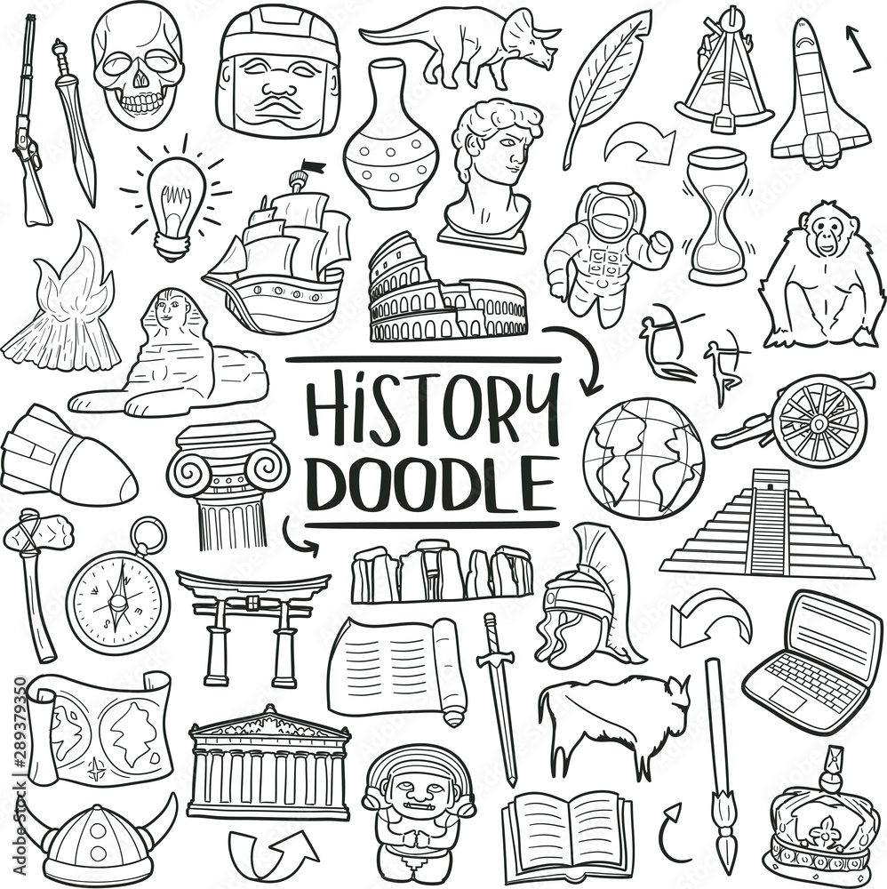Fototapeta History of Humanity Subject. Traditional Doodle Icons. Sketch Hand Made Design Vector Art.