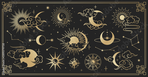 Asian set with clouds, moon, sun and  stars Poster Mural XXL