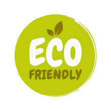 Eco Friendly Fresh Healthy Organic Vegan Food Badge. Vector Hand Drawn Illustration. Vegetarian Eco Green Concept