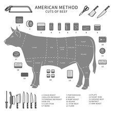 Pieces Of Meat. Line Monochrom...
