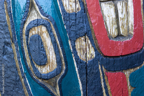 texture of indigenous indian art totem in Ottawa, Canada