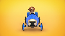 Dog Driving Toy Car. 3d Rendering