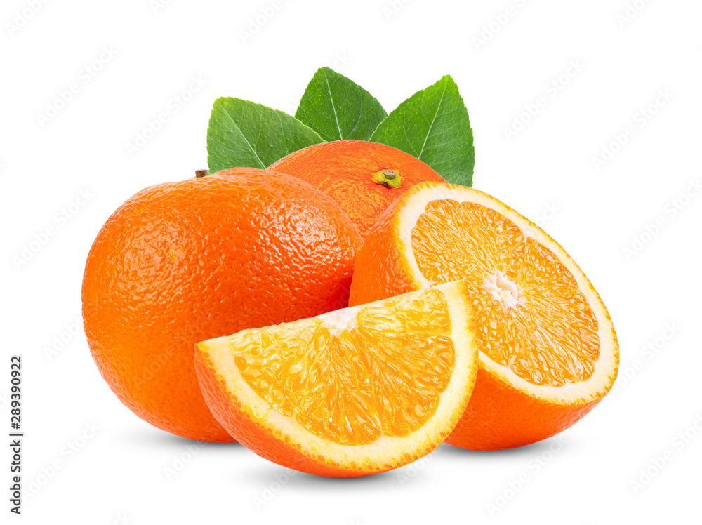 Fototapety, obrazy: Ripe half of orange citrus fruit with leaf isolated on white background Full depth of field