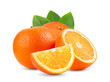 canvas print picture - Ripe half of orange citrus fruit with leaf isolated on white background Full depth of field