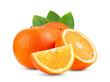 Leinwandbild Motiv Ripe half of orange citrus fruit with leaf isolated on white background Full depth of field