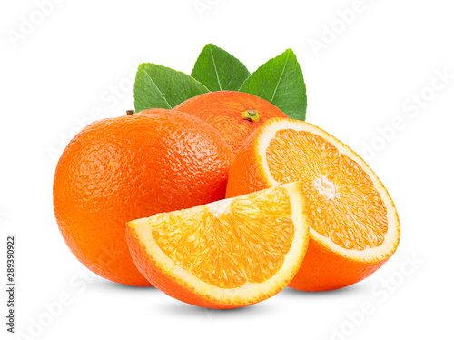 Ripe half of orange citrus fruit with leaf isolated on white background Full depth of field - 289390922