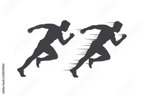 Run club logo, abstract running man silhouette, label for sports club, sport tou Wallpaper Mural