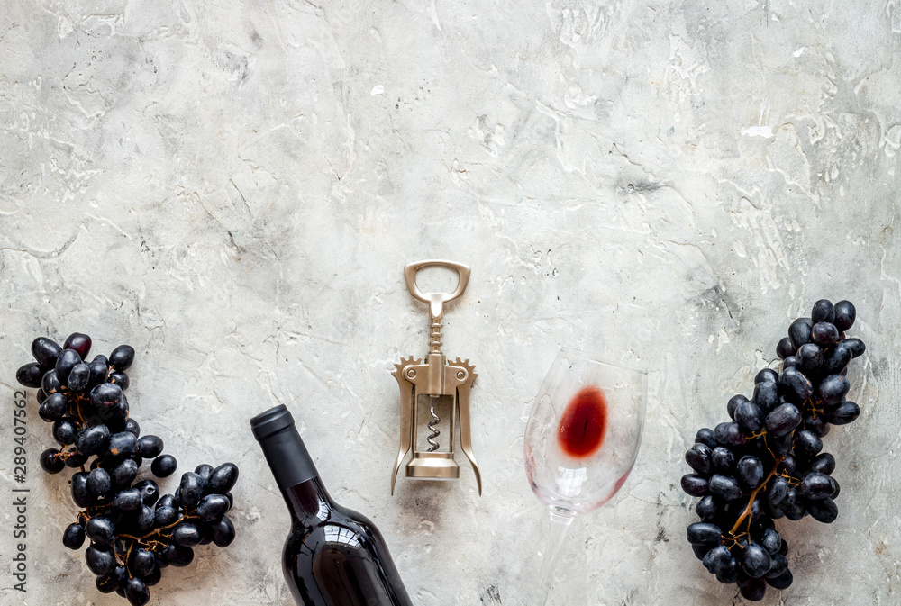 Fototapeta Composition with wine bottle on grey background top view space for text