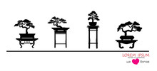 Set Of Bonsai, Black Silhouette Of Bonsai. Detailed Image. Vector Illustration. Decorative Arts. Mini Tree In Pot. Dwarf Tree Decoration Art.