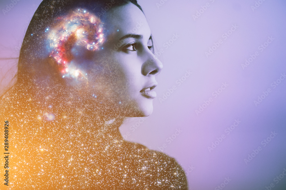 Fototapety, obrazy: Double multiply exposure abstract portrait of a dreamy cute young woman face with galaxy universe space inside head. Human spirit, astronomy, life zen concept Elements of this image furnished by NASA.
