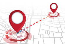 2 Locator Icons Red Color Showing On Street Map With Line Tracking.vector Illustration