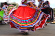 Leinwanddruck Bild Colorful skirts fly during Mexican dancing