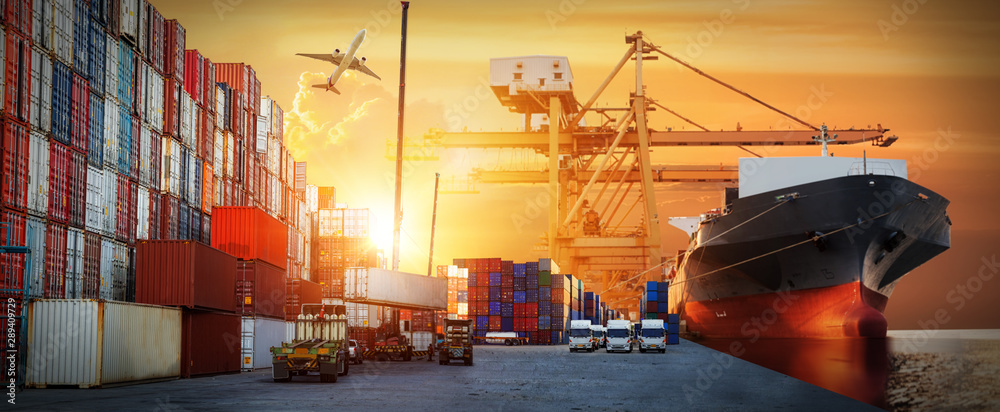 Fototapety, obrazy: Industrial Container Cargo freight ship, forklift handling container box loading for logistic import export and transport industry concept background