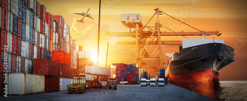 Fotografia  Industrial Container Cargo freight ship, forklift handling container box loading
