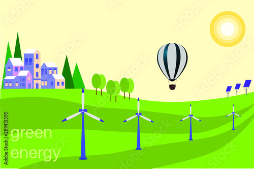 Photo Stands Green coral Green energy landscape with power mills and solar panel safe ecology concept.