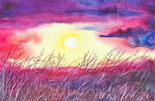 Poster Prune Watercolor illustration of a beautiful summer forest landscape by the lake.Sunset