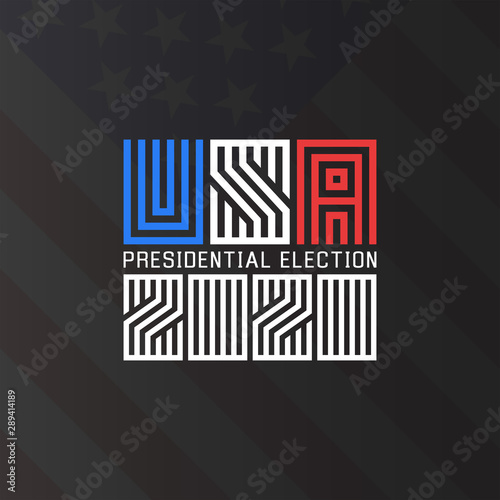 Us Presidential Election Logo 2020 Template For The Political Poster Of The American Electoral Campaign Of The Electorate On The Background Of The American Flag Buy This Stock Vector And Explore