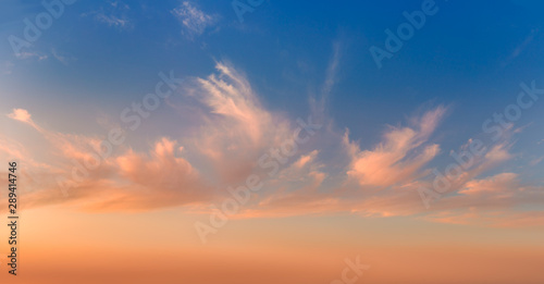 Foto op Aluminium Ochtendgloren Gentle sunrise sundown sky and colorful light clouds, panoramic