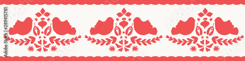 fototapeta na ścianę Christmas silhouette folk pattern border in red and white. Vector seasonal seamless repeat illustration with birds.