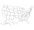 United States of America map. High detailed border. Vector illustration.