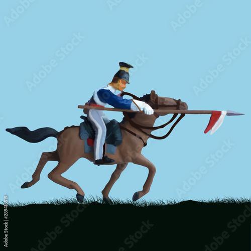 Billede på lærred 1800's Crimean war, British cavalry on a horse charging