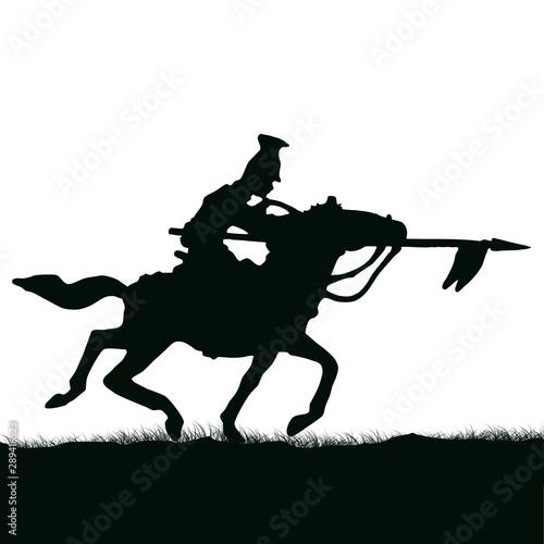 Fotografiet 1800's Crimean war, British cavalry on a horse charging