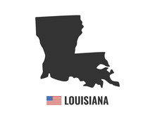 Louisiana Map Isolated On Blac...