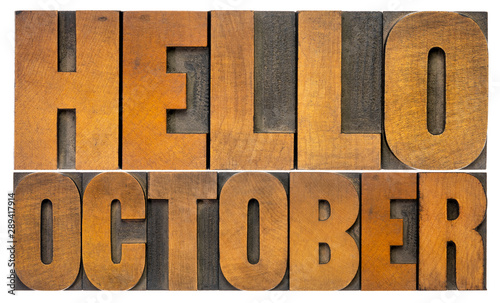 Pinturas sobre lienzo  Hello October  word abstract in wood type
