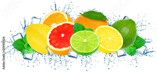 citrus water splash and ice cubes isolated on white - 289418926